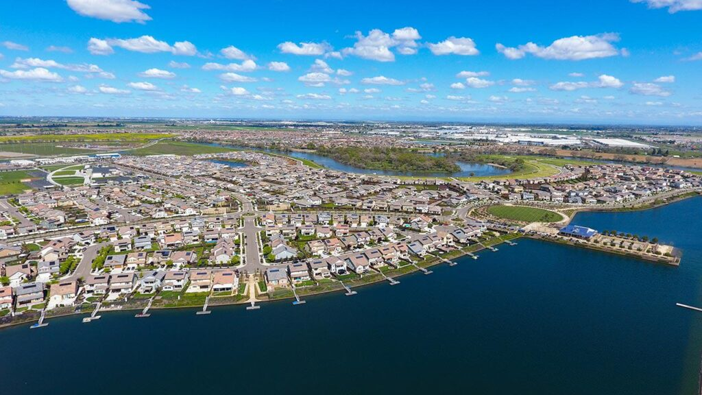 aerial view of river islands in lathrop